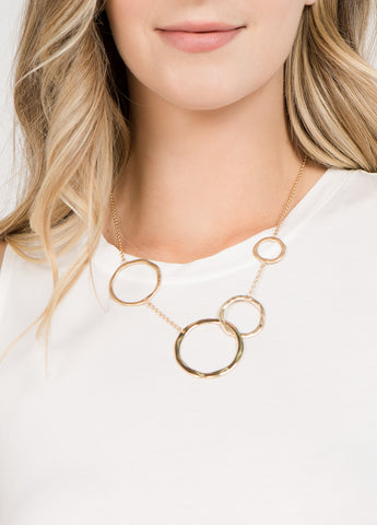 Hammered Linked Circles Necklace
