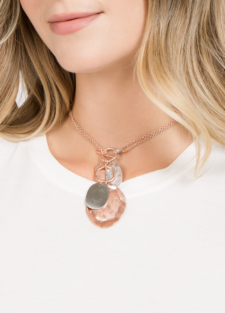 Hammered Toggle Charm Necklace