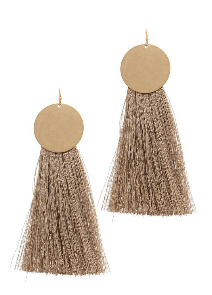 Disc and Tassel Drop Earrings in Gold