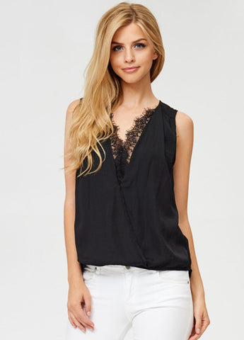 Lace Inset Surplus Top