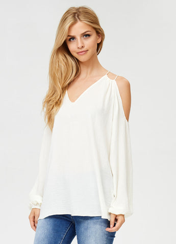 Sheer Open Shoulder Top in Ivory