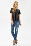 Studded Faux Leather Top