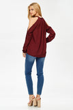 Cold Shoulder Silk Top in Burgundy