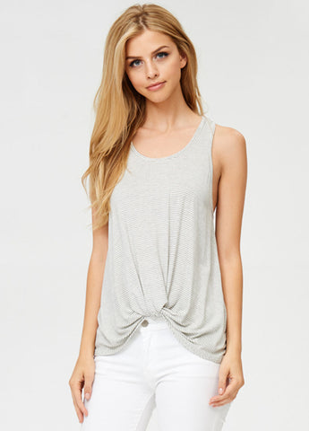 Striped Twist Knot Tank in White
