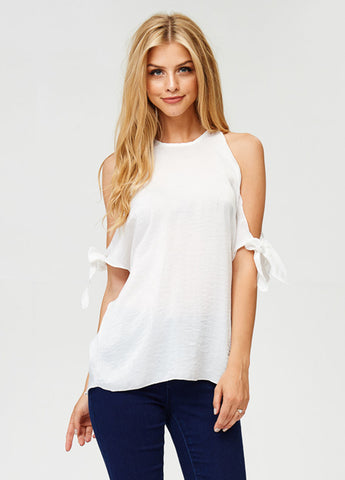 Washed Satin Cold Shoulder Tie Sleeve Top in White