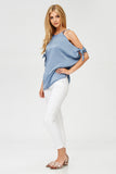 Washed Satin Cold Shoulder Tie Sleeve Top in Blue