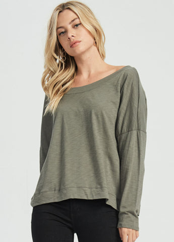 Slouchy Off Shoulder Top in Olive