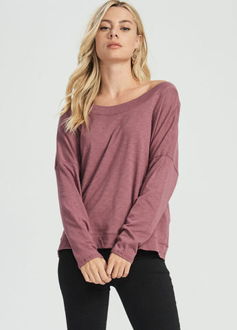 Slouchy Off Shoulder Top in Berry
