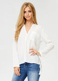 Crinkle Split Neck Top in White
