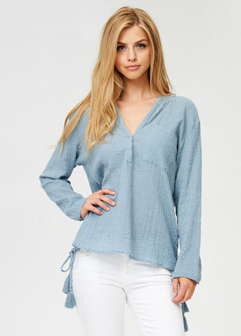 Crinkle Split Neck Top in Vintage Blue