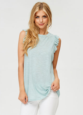 Ruffle Sleeve Tank Top in Mint