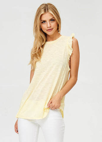 Ruffle Sleeve Tank Top in Yellow
