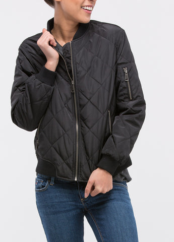 Quilted Puffer Bomber in Black