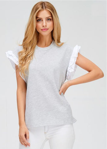 Ruffled-Sleeve Top in Heather Grey