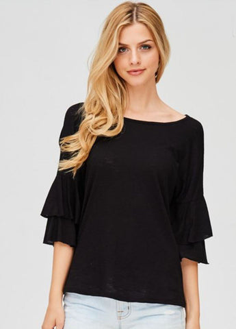 Ruffle Sleeve Tee in Black