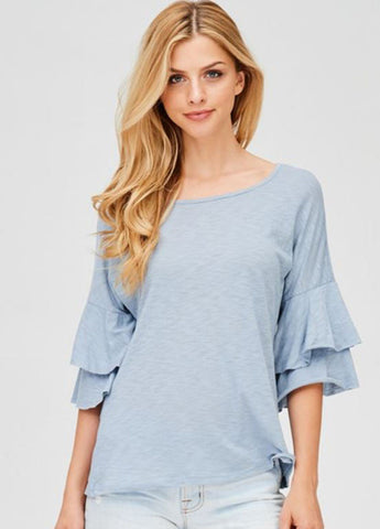 Ruffle Sleeve Tee in Light Blue