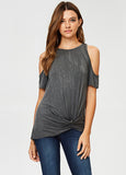 Mineral Wash Cold Shoulder Top with Front Twist