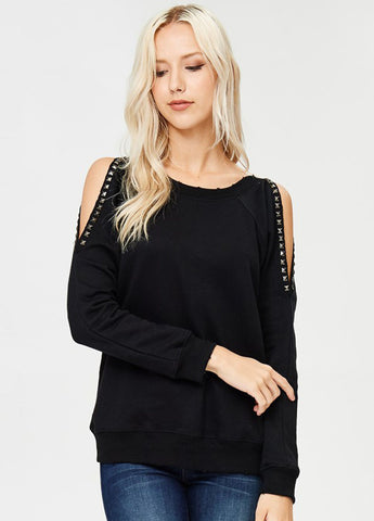 Studded Cold Shoulder Sweatshirt in Black