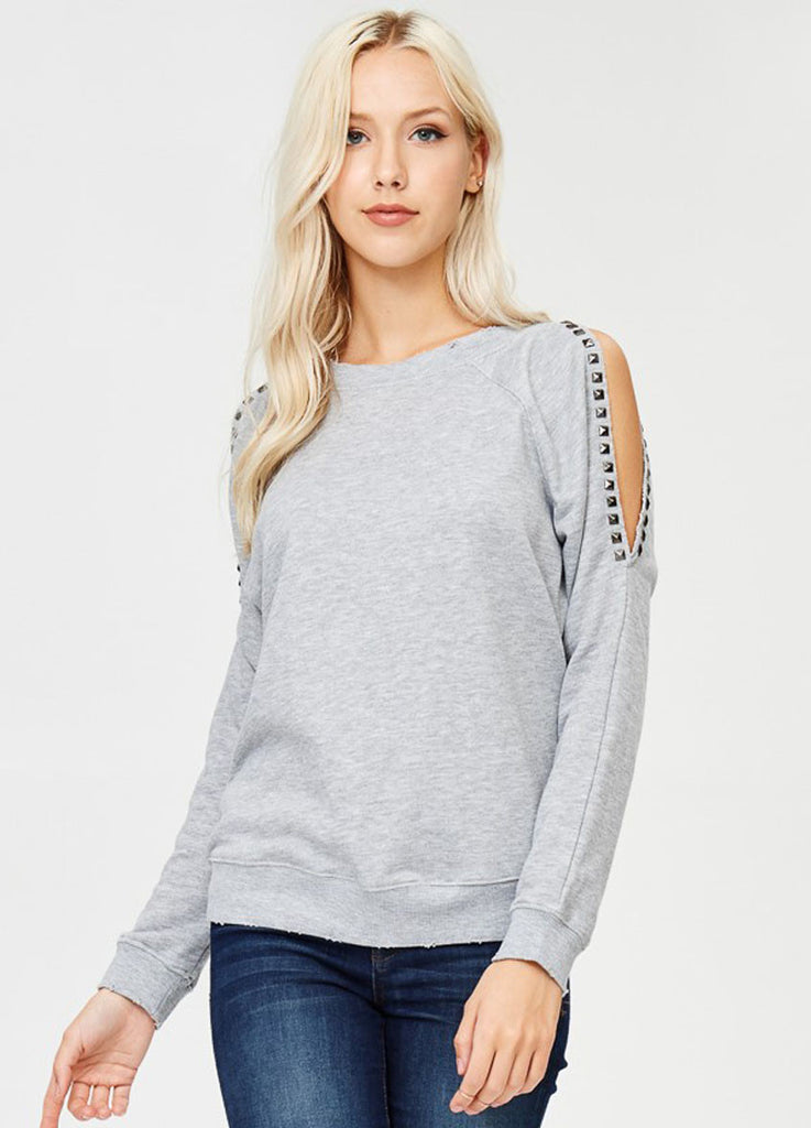 Studded Cold Shoulder Sweatshirt in Grey