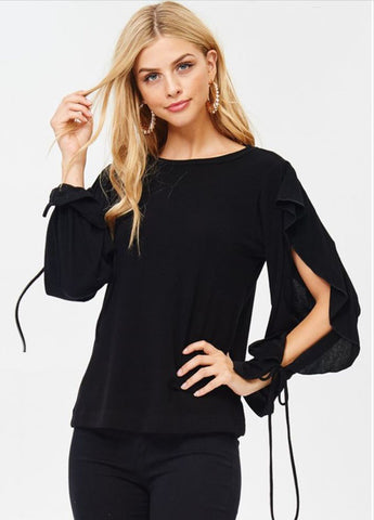 Ruffle Open Sleeve Top with Ties in Black