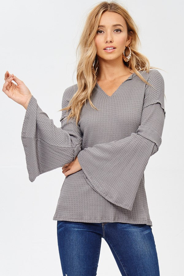 Split Neck Bell Sleeve Top in Charcoal