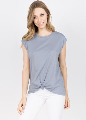 Muscle Tee with Side Tie in Steel Blue