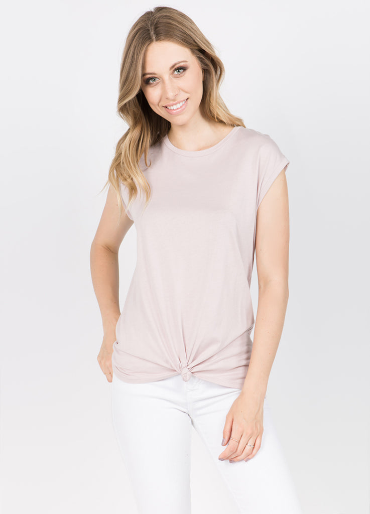 Muscle Tee with Side Tie in Blush