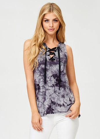 Tie Dye Lace Up Tank in Black