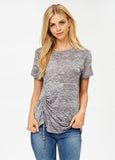 Short Sleeve Burnout Tee in Charcoal
