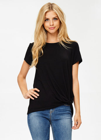Short Sleeve Knot Tee in Black