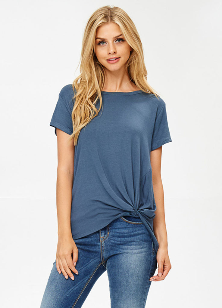 Short Sleeve Knot Tee in Teal