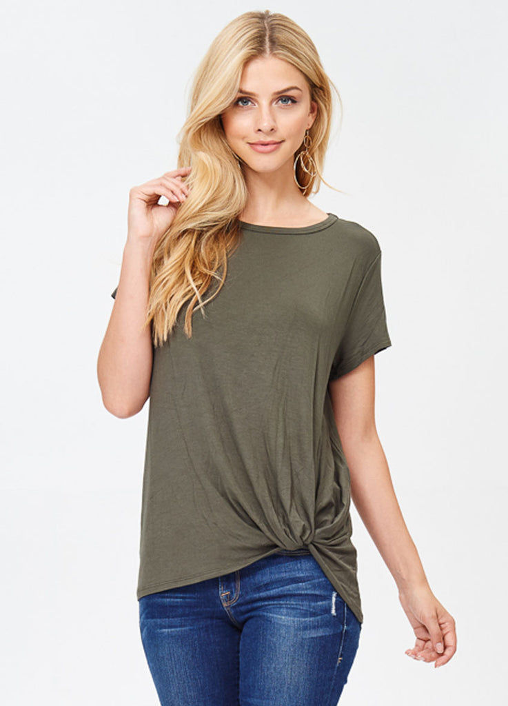 Short Sleeve Knot Tee in Olive