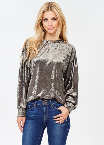 Balloon Sleeve Crushed Velvet Top in Olive