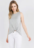 Side Twist Sleeveless Tee In Grey