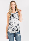 Tie Dye Tank Top in White/Black