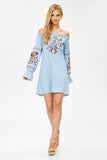 Off-The-Shoulder Embroidered Dress in Chambray