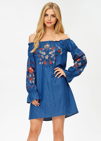Off-The-Shoulder Embroidered Dress in Denim