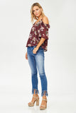 Cold Shoulder Floral Print Top in Plum