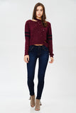 Distressed Varsity Stripe Sweater in Burgundy