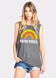 Rainbow Good Vibes Sleeveless Muscle Tee