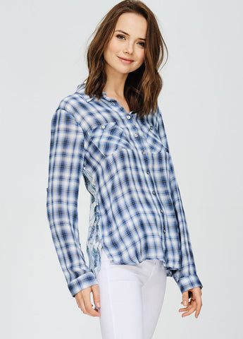 Plaid Top with Contrast Back
