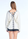 V-Neck Tie Back Sweater in Cream