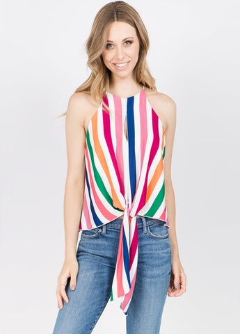 Rainbow Stripe Flowy Top