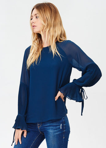 Pleated Bell Sleeve Top in Peacock