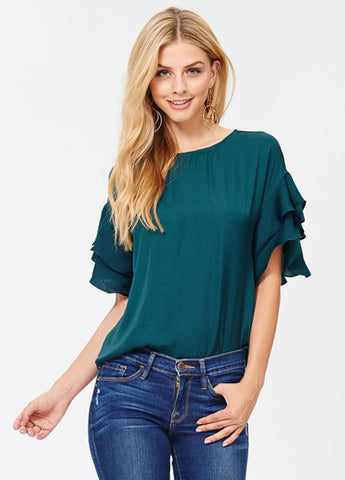 Washed Silk Double Ruffle Short Sleeve Top in Deep Forest