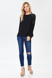 Pleated Bell Sleeve Top in Black