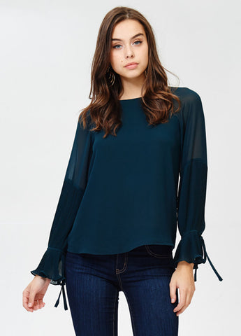 Pleated Bell Sleeve Top in Deep Forest