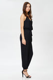 Surplice Jogger Jumpsuit in Black