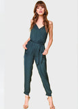 Surplice Jogger Jumpsuit in Deep Forest