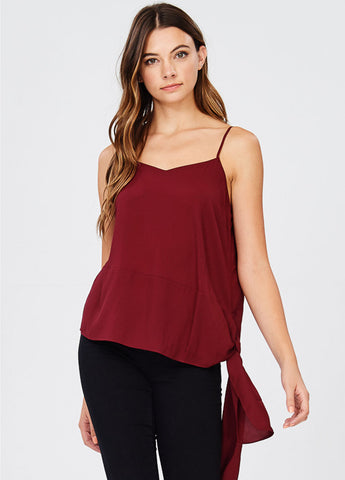 Side Tie Camisole in Burgundy